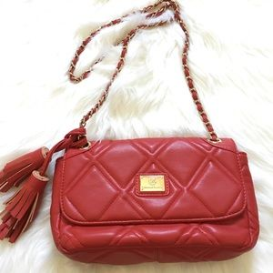 Christian Lacroix red quilted crossbody bag